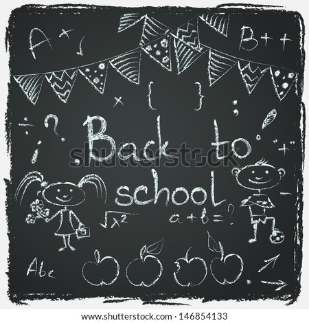Hand drawn back to school sketch. Set of school doodles on chalkboard background.