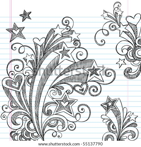Hand-Drawn Back to School Starbursts, Swirls, Hearts, and Stars Sketchy Notebook Doodles Vector Illustration Design Elements on Lined Sketchbook Paper Background