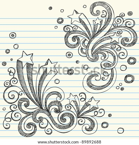 Hand-Drawn Back to School Starbursts with Swirls and Bubbles- Sketchy Notebook Doodles Vector Illustration Design Elements on Lined Sketchbook Paper Background