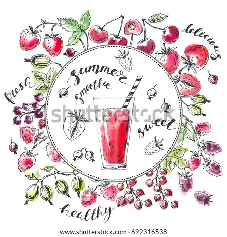 Hand drawn background with garden berries and round space with smoothie glass. Ink sketch with bright watercolor stains. Strawberry, sweet cherry, black, red currant, gooseberry, blackberry, raspberry