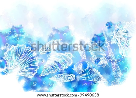Hand Drawn background with see shell, beautiful vector illustration