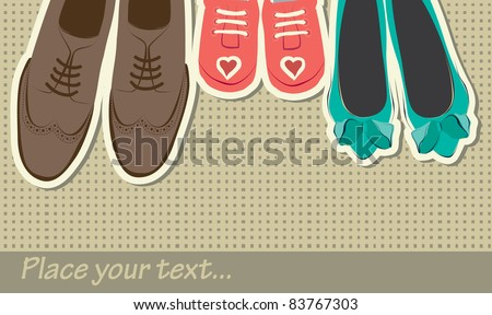 hand drawn background with shoes