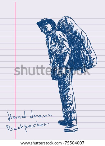 Hand drawn backpacker Vector. Visit my portfolio for big collection of doodles