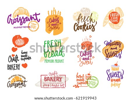 Hand drawn bakery logotypes set with colorful calligraphic inscriptions bread and pastry products isolated vector illustration