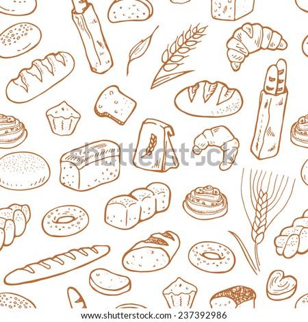 hand drawn bakery on white