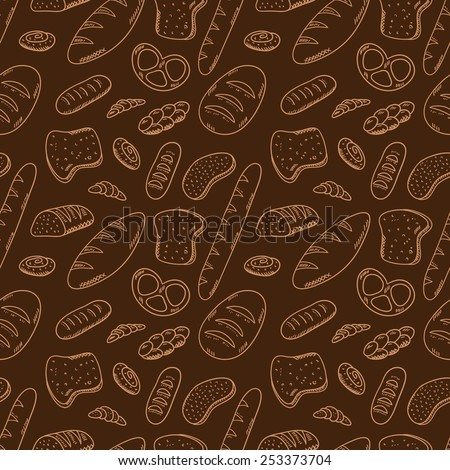 Hand drawn bakery on white background Seamless pattern with bread Bakery concept made in vector Baguette bun croissant bread and other bakery products