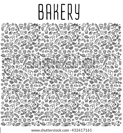 Hand drawn bakery seamless logo, doodles elements, background. Vector sketchy illustration