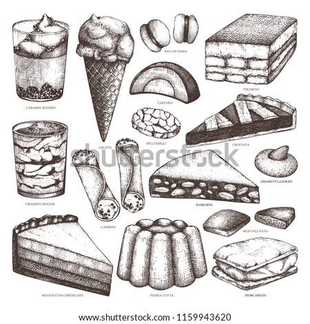 Hand drawn baking and pastries illustrations on white background. Vector Italian desserts drawing. Traditional sweet food sketches for cafe or restaurant menu design.