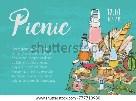 Free picnic vectors download free vector art stock graphics images hand drawn banner poster picnic announcement or invitation template with traditional wicker basket for stopboris Choice Image