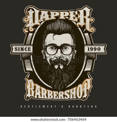 Hand drawn barber shop badge