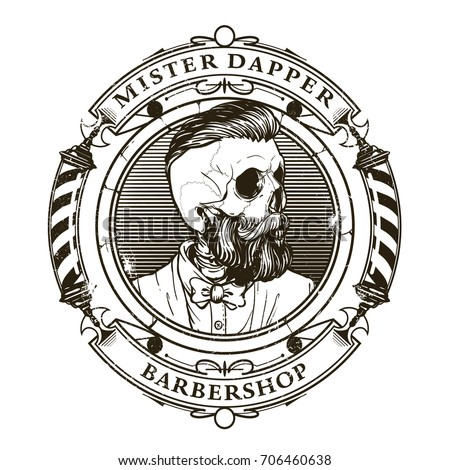 hand drawn barber shop logo in...