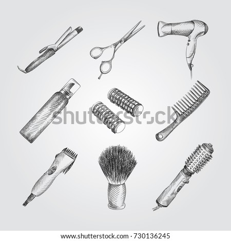 Hand Drawn Barber Shop Sketches Set. Collection Of scissors, hairdryer comb, hair dryer, hair mousse spray, curlers, comb, Hair clipper, Sketches on white background. Hair care and Styling