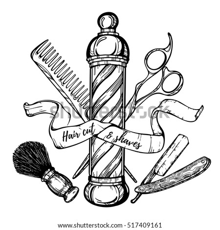 Vector images illustrations and cliparts hand drawn for Straight edge razor tattoo