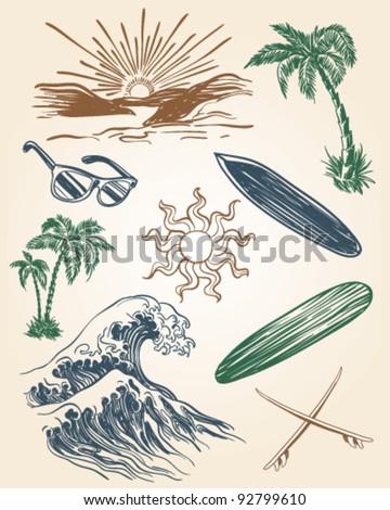 Hand drawn beach and surf illustration set