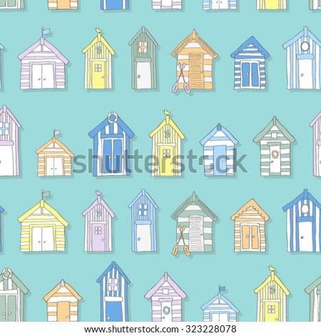 hand drawn beach huts in a