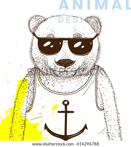hand drawn bear with sunglasses