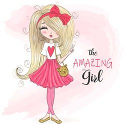 Hand drawn beautiful cute cartoon amazing fashion girl. Vector illustration.