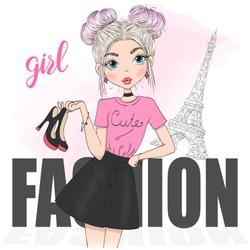 Hand drawn beautiful cute cartoon fashion girl. Vector illustration.