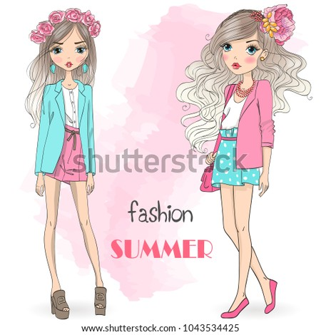 Hand drawn beautiful cute cartoon summer girls. Vector illustration.