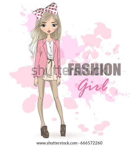 Hand drawn beautiful cute fashion cartoon girl. Vector illustration.