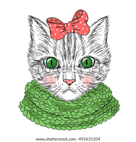 Hand drawn beautiful cute girl cat with bow on her head. Vector illustration.