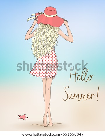 Hand drawn beautiful cute girl in hat stands with her back on the background with inscription Hello Summer. Vector illustration.