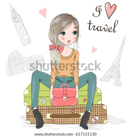 Hand drawn beautiful cute girl is sitting on suitcases on the background of Big Ben, Colosseum and Eiffel Tower with the inscription I love travel. Vector illustration.