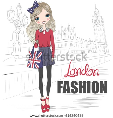 Hand drawn beautiful cute girl on the background of Big Ben Tower with the inscription London Fashion. Vector illustration.