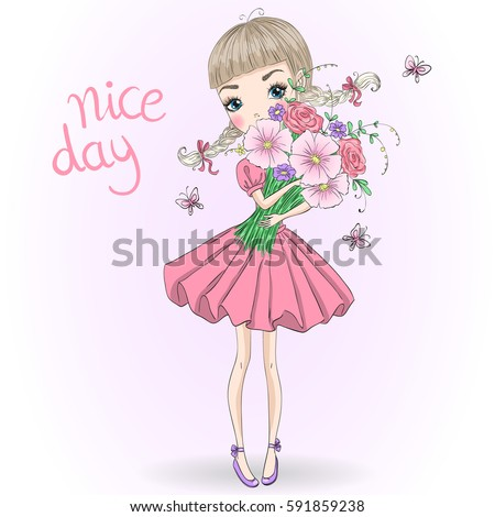 Hand drawn beautiful cute girl with a bouquet of flowers and butterflies. Vector illustration.
