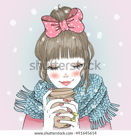 Hand drawn beautiful cute girl with coffee in his hands. Vector illustration.