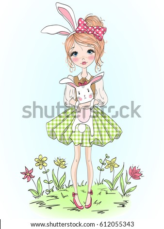 Hand drawn beautiful cute girl with rabbit in her hands on background of flowers. Vector illustration.
