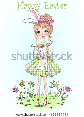 Hand drawn beautiful cute girl with rabbit in her hands on background of flowers with inscription Happy Easter. Vector illustration.