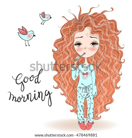 Hand drawn beautiful cute haired girl in pajamas and a toothbrush. Vector illustration.