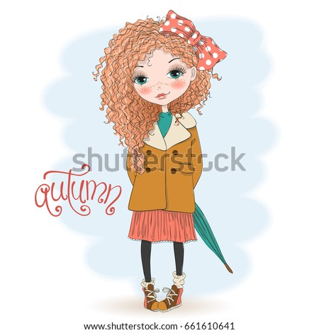 Hand drawn beautiful cute little curly, red-haired girl with umbrella on background with an inscription autumn. Vector illustration.