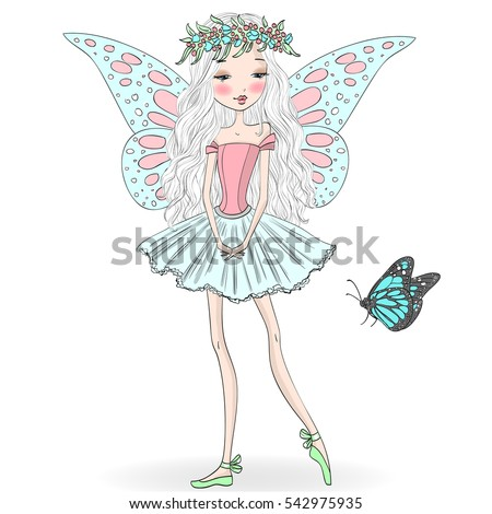 Hand drawn beautiful cute little fairy ballerina with a butterfly. Vector illustration.