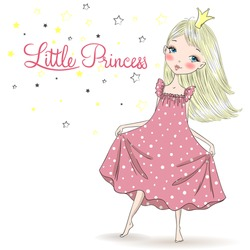 Hand drawn beautiful, cute, little girl Princess in a nightgown. Vector illustration.