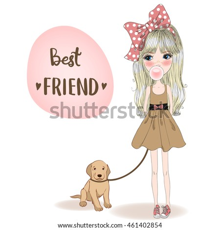 Hand drawn beautiful, cute, little girl with a dog on background with inscription Best friend. Vector illustration.