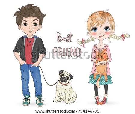 stock-vector-hand-drawn-beautiful-cute-little-girl-with-pretty-cat-and-cartoon-boy-with-dog-pug-vector