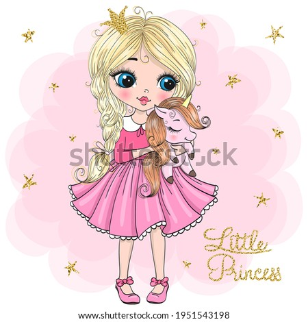 Hand drawn beautiful cute little princess girl with unicorn. Vector illustration.