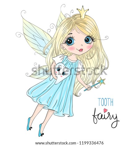 Hand drawn beautiful cute little tooth fairy girl with a tooth. Vector illustration.