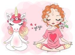Hand drawn beautiful cute little Unicorn and little girl yogi in lotus position. Vector illustration.