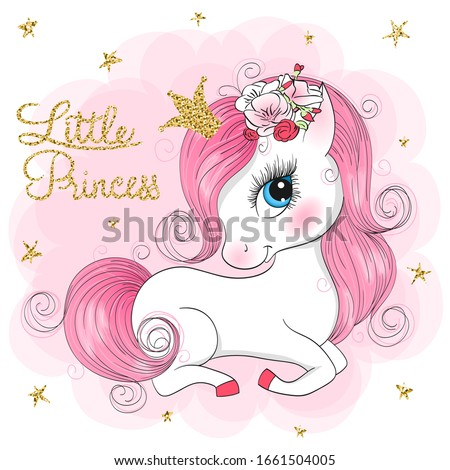 Hand drawn beautiful cute little unicorn girl with flowers on her head. Vector illustration.