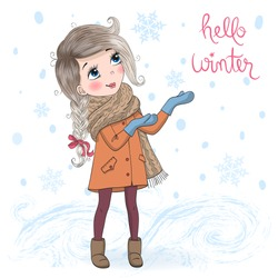 Hand drawn beautiful cute little winter girl on background with inscription Hello Winter. Vector illustration.