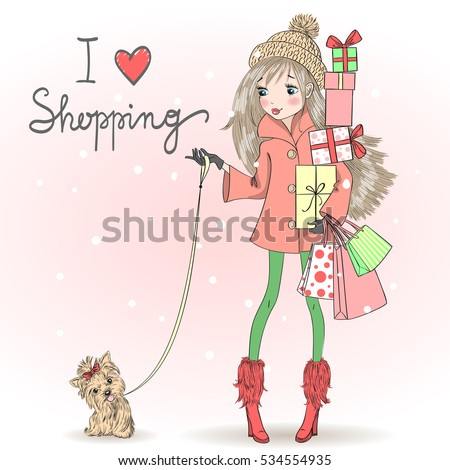 Hand drawn beautiful, cute shopping girl with a gift and dog. Vector illustration.