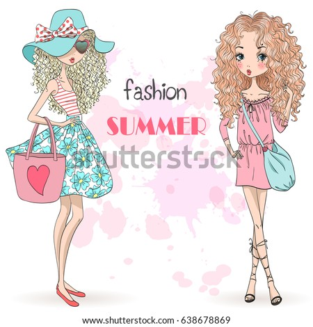 Hand drawn beautiful cute summer girls on the background with inscription fashion summer. Vector illustration.