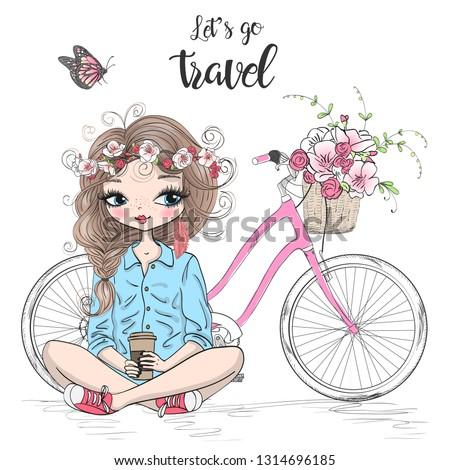 stock-vector-hand-drawn-beautiful-cute-travel-girl-is-sitting-near-the-bike-vector-illustration