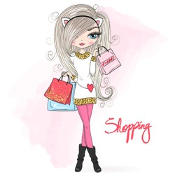 Hand drawn beautiful, cute winter shopping girl with a gift and bag. Vector illustration.