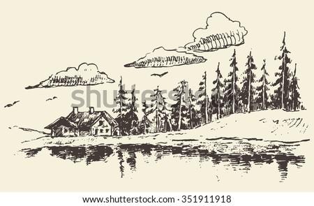 hand drawn beautiful landscape