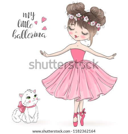 Hand drawn beautiful, lovely, little ballerina with cat. Vector illustration. Foto d'archivio ©
