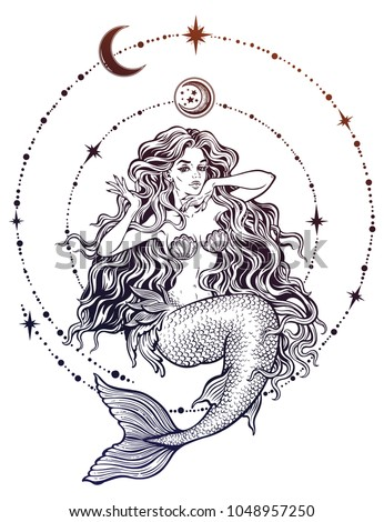 Hand drawn beautiful mermaid girl with fairytale hair with stars and moon. Ocean siren in retro style. Sea, fantasy, spirituality, mythology, tattoo art, coloring books. Isolated vector illustration.